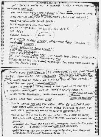 Thelonious Monk Advice